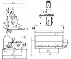 Esquema y medidas descascaradora neumática SERIE PCA-10. Máquina para arroz. Agromay
